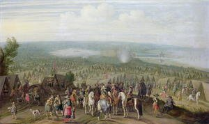 Famous paintings of Tent: A Military Encampment with Militia on Horses, Troops and a Fortified Town