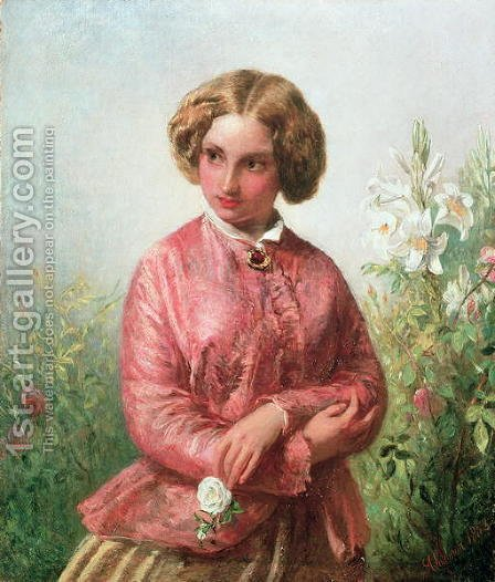 Portrait of a young girl with a rose by Abraham Solomon - Reproduction Oil Painting