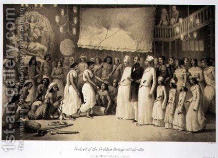 Festival of the Goddess Dourga at Calcutta, from Voyage in India, engraved by Louis Henri de Rudder 1807-81 pub. in London, 1858 by (after) Soltykoff, A. - Reproduction Oil Painting