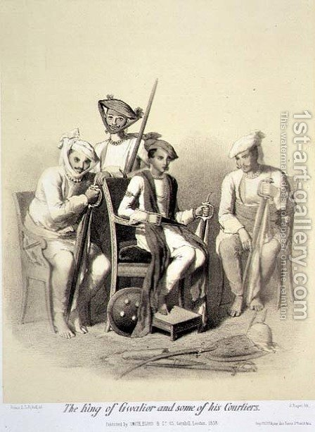 The King of Gwalior and Some of his Courtiers, from Voyage in India, engraved by Jules Trayer 1824-1901 pub. in London, 1858 by (after) Soltykoff, A. - Reproduction Oil Painting