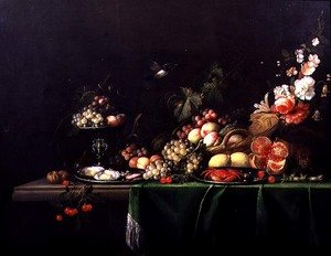 Still life of fruit with a squirrel