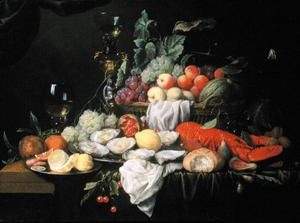 Still Life with Lemon, Oysters, Lobster and Fruit, 1658
