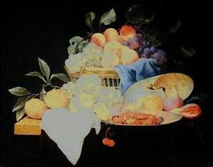 Still life with peaches and grapes in a basket, c.1650-60