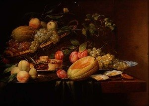 Famous paintings of Desserts: Still Life of Fruit, Oysters and a Pie