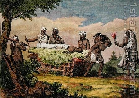 Vishnu funeral, India, from Voyage aux Indes, Orientales et la Chine, by Pierre Sonnerat, engraved by Poisson, published 1782 by (after) Sonnerat, Pierre - Reproduction Oil Painting