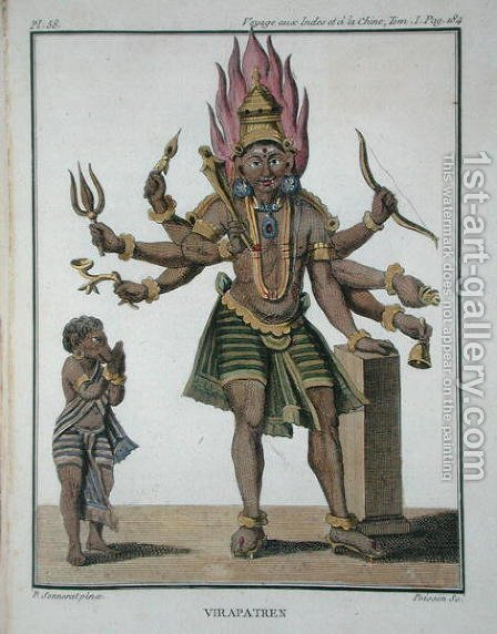 Shiva as Virapatren, Lord with the ill-formed Evil Eye, from Voyage aux Indes et a la Chine by Pierre Sonnerat, engraved by Poisson, published 1782 by (after) Sonnerat, Pierre - Reproduction Oil Painting