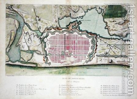 Plan of Pondicherry, from Voyage aux Indes et la Chine, engraved by Poisson, published 1782 by (after) Sonnerat, Pierre - Reproduction Oil Painting