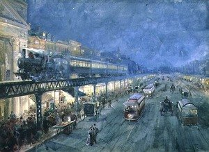 Famous paintings of Trams: The Bowery at Night, 1895