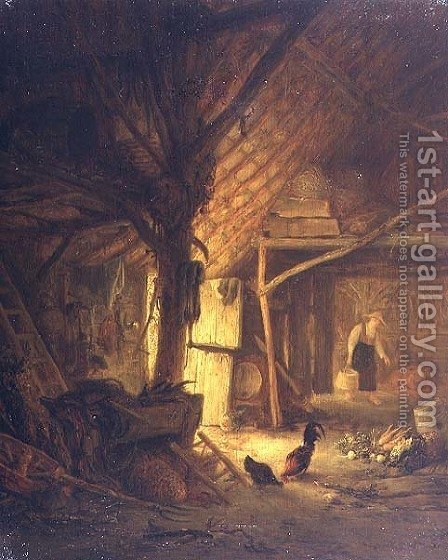 The Interior of a Barn by Hendrick Maertensz. Sorch (see Sorgh) - Reproduction Oil Painting
