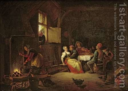 Peasants merrymaking at table in a cottage kitchen by Hendrick Maertensz. Sorch (see Sorgh) - Reproduction Oil Painting