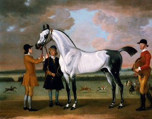 The Duke of Boltons Starling with a jockey and groom at Newmarket, 1734
