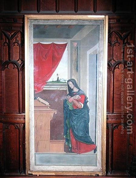Virgin Annunciate, annunciation panel originally forming one of the outside shutters of the organ in San Bartolomeo, Vicenza by Giovanni de' Vajenti Speranza - Reproduction Oil Painting