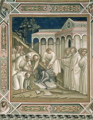 Reproduction oil paintings - Luca Spinello Aretino - The Heavy Stone, detail from the Life of St Benedict c.480-c.550, in the Sacristy, 1387