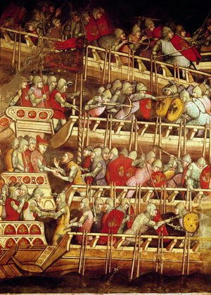 Reproduction oil paintings - Luca Spinello Aretino - The History of Pope Alexander III 1105-81- The Venetian Fleet Victorious over that of Emperor Frederick Barbarossa c.1123-90 1407