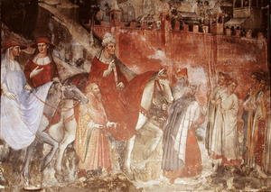 Reproduction oil paintings - Luca Spinello Aretino - The History of Pope Alexander III 1105-81- The Entrance of the Pope and Emperor Frederick Barbarossa c.1123-90 into Rome, 1407