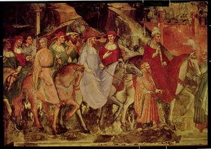 Reproduction oil paintings - Luca Spinello Aretino - The History of Pope Alexander III 1105-81- The Entrance of the Pope and Emperor Frederick Barbarossa c.1123-90 into Rome, 1407 2