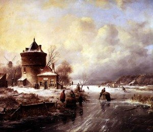 Famous paintings of Ice skating: A Frozen River