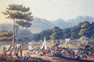 Famous paintings of Tent: Troops Bivouacked near Villa Velha, engraved by C. Turner, 19th May 1811