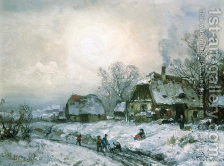 Winter Walk by Adolf Stademan - Reproduction Oil Painting