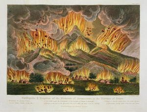 Famous paintings of Volcanoes: Earthquake and Eruption of the Mountain of Asama-yama, in the Province of Sinano, from Illustrations of Japan by Isaac Titsingh c.1740-1812 published London, 1822