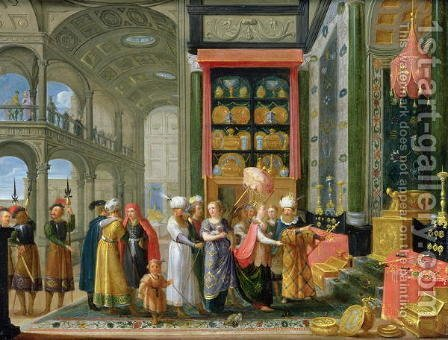 King Solomon and the Queen of Sheba by Adriaen van Stalbempt - Reproduction Oil Painting