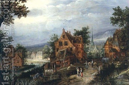 Village Scene with Figures by Adriaen van Stalbempt - Reproduction Oil Painting