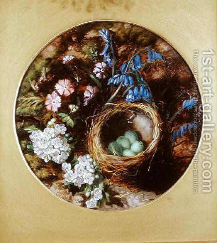 A Still Life with Birds Nest, Blossom and Bluebells by Henry Stanier - Reproduction Oil Painting