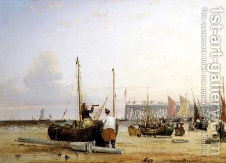 Yarmouth Jetty, Isle of Wight by Alfred Stannard - Reproduction Oil Painting