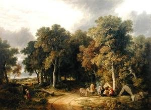 Famous paintings of Tent: Encampment in a Wooded Landscape