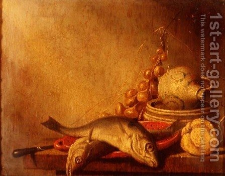 A pan of fish, a stoneware jug, onions and fruit by Harmen van Steenwyck - Reproduction Oil Painting