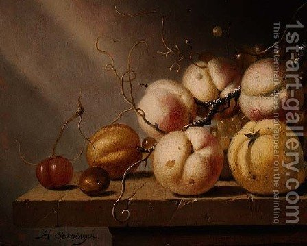 Still life of fruit on a ledge by Harmen van Steenwyck - Reproduction Oil Painting