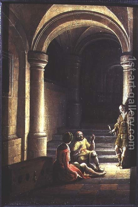 Joseph in prison interpreting the dreams of the baker and the butler, 1624 by Hendrick van, the Younger Steenwyck - Reproduction Oil Painting