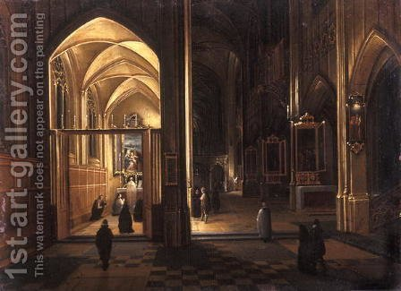 The Interior of a Gothic Church by Hendrick van, the Younger Steenwyck - Reproduction Oil Painting