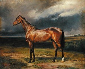 Famous paintings of Clouds & Skyscapes: Abdul Medschid the chestnut arab horse, 1855