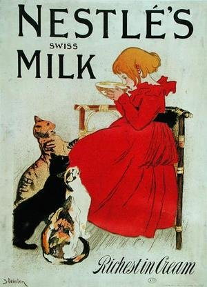 Famous paintings of Dairy & Milk: Poster Advertising Nestles Swiss Milk, late 19th century