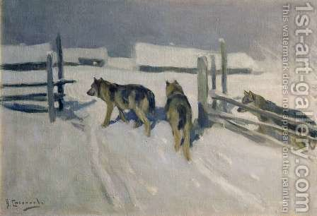 Wolfs, Winter Night, c.1910 by Aleksi Stepanovich Stepanov - Reproduction Oil Painting