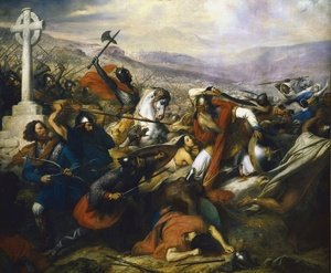 Romanticism painting reproductions: The Battle of Poitiers, 25th October 732, won by Charles Martel 688-741 1837