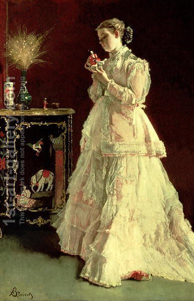 The Lady in Pink, 1867 by Alfred-Emile-Leopole Stevens - Reproduction Oil Painting