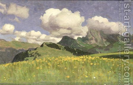 A Field of Marigolds, Lower Alps, 1902 by Adrian Scott Stokes - Reproduction Oil Painting