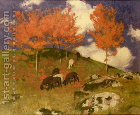 Wild Cherry Trees in the South Tyrol c.1900 by Adrian Scott Stokes - Reproduction Oil Painting