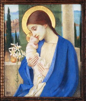 Pre-Raphaelites painting reproductions: Madonna and Child, c.1905