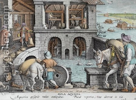 A Water Mill, plate 11 from Nova Reperta New Discoveries engraved by Philip Galle 1537-1612 c.1600 by (after) Straet, Jan van der (Giovanni Stradano) - Reproduction Oil Painting