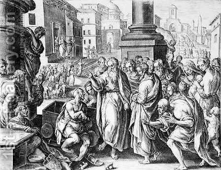 Saints Paul and Barnabas Preaching in Lystra, engraved by P. Galleus by (after) Straet, Jan van der (Giovanni Stradano) - Reproduction Oil Painting