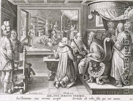 The Beginning of the Silk Industry in Europe, plate 9 from Nova Reperta New Discoveries engraved by Philip Galle 1537-1612 c.1600 by (after) Straet, Jan van der (Giovanni Stradano) - Reproduction Oil Painting
