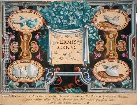Frontispiece to Vermis Sericus The Silkworm engraved by Theodor Galle 1571-1633 by (after) Straet, Jan van der (Giovanni Stradano) - Reproduction Oil Painting