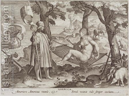 Columbus Discovering America, plate 2 from Nova Reperta New Discoveries engraved by Theodor Galle 1571-1633 c.1600 2 by (after) Straet, Jan van der (Giovanni Stradano) - Reproduction Oil Painting