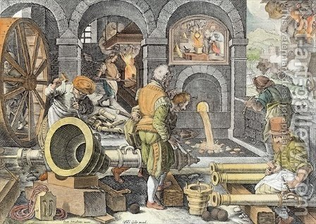 The Invention of Gunpowder and the First Casting of Bronze Cannon, plate 4 from Nova Reperta New Discoveries engraved by Philip Galle 1537-1612 c.1600 2 by (after) Straet, Jan van der (Giovanni Stradano) - Reproduction Oil Painting