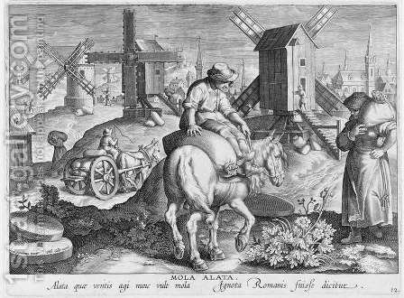 Windmills, plate 12 from Nova Reperta New Discoveries engraved by Philip Galle 1537-1612 c.1600 by (after) Straet, Jan van der (Giovanni Stradano) - Reproduction Oil Painting