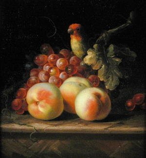 Still Life with Peaches and Grapes on a Ledge with a Parrot perched above