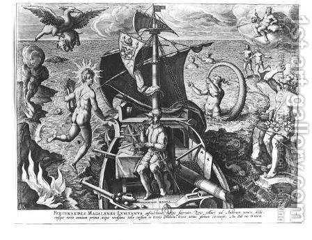 Ferdinand Magellan c.1480-1521 on board his caravel, 1522